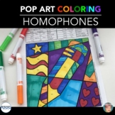 Homophones Coloring w/Images Appropriate for End of Year A
