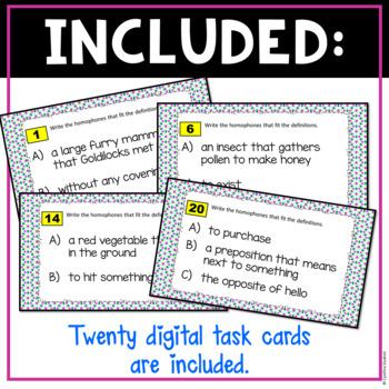 Homophones Digital Task Cards for Google Slides