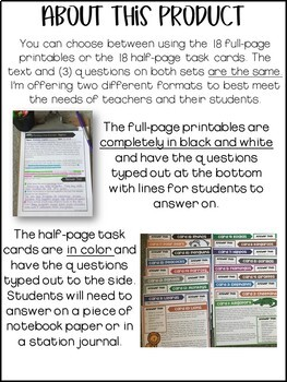 Reading Comprehension Passages | Questions | Task Cards