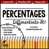 Percents Differentiated Lesson Activities and Centers