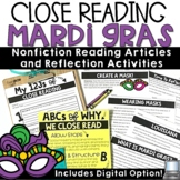 Mardi Gras Reading Passage Comprehension Activities   Fat Tuesday, Wearing Masks