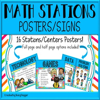 Math Stations or Centers Posters