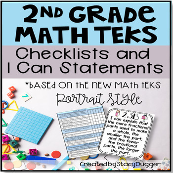Math TEKS Checklists and I Can Statements (Portrait) 2nd Grade