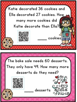 Math Word Problems Task Cards & QR Codes for 2nd Grade Common Core