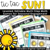 Multi Step Word Problem Math Games (Tic Tac Sun)