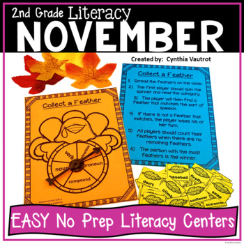 2nd Grade NO PREP! LITERACY Centers for November