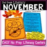 2nd Grade NO PREP! LITERACY Centers for November