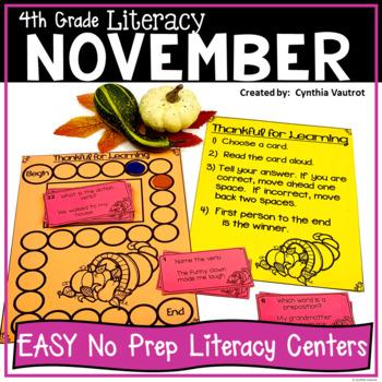 NO PREP LITERACY Centers for November {4th Grade}
