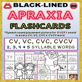 Black-Lined Apraxia Flashcards: VC, CV, CVC, CVCV, 2 to 5 Syllable Words