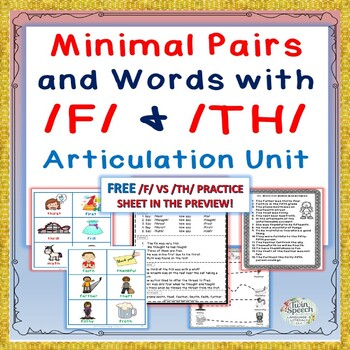 Speech Therapy: Minimal Pairs and Words with /F/ & /TH/ Articulation Unit