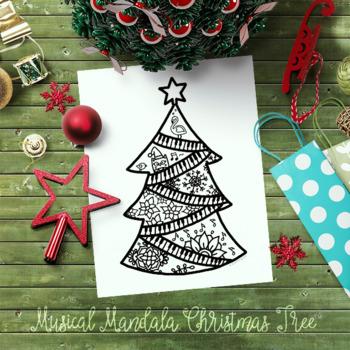 New Release Musicala Mandala Christmas Tree with bonus coloring sheet