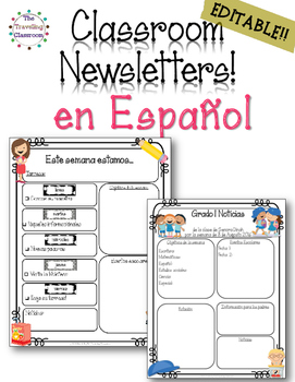 Noticias del Salon - Editable Spanish Classroom Newsletters All Year