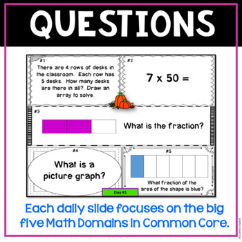 October Daily Math Spiral for 3rd Grade - Common Core No Prep