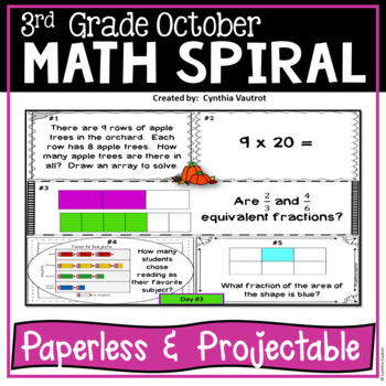 October Daily Math Spiral for 3rd Grade - Common Core No Prep