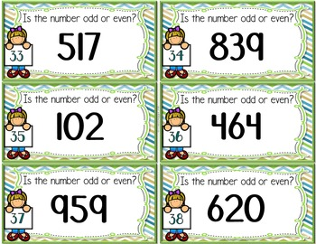 Odd or Even Task Cards with 3-Digit Numbers