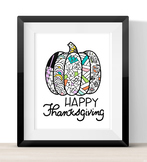 Happy Thanksgiving Poster and coloring pages