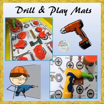 Pound & Drill Play Mats For Apraxia + Truck & Tool & CV, VC, CVC, CVCV cards