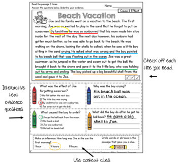 Reading Skills - Finding Text Evidence Comprehension Passages
