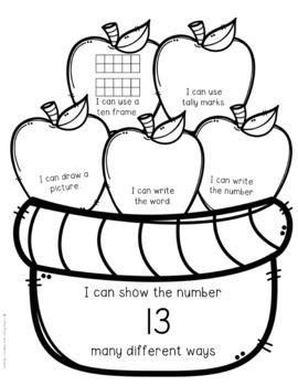 Representing Numbers 1-20 Apple Basket