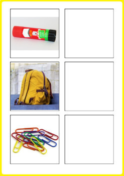 SCHOOL Word to Picture Matching Activity