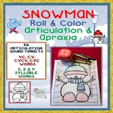 Snowman Roll & Color Artic & Apraxia- 26 sounds, VC to 4 syllable words