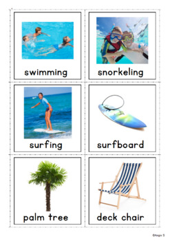 Summer Vocabulary Photo Flashcards for Speech Therapy and Special Education
