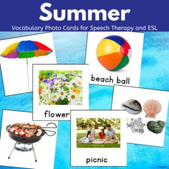 Summer Words with Pictures for Speech Therapy and Special Education