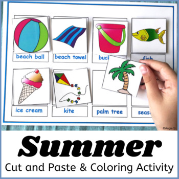 Summer Coloring Pages - Beach Vocabulary