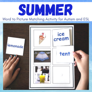 Summer Word to Picture Matching Activity