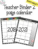 Teacher Planner 2018-2019 2 Page Calendar Black & White Polka Dot Themed