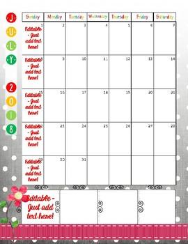 Teacher Planner - One Page Calendar 2017 - 2018 Black & White Polka Dot