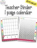 Editable Teacher Planner - One Page Calendar Black & White Polka Dot
