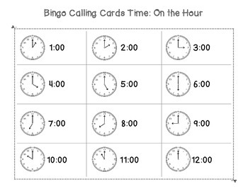 Telling Time: Hour and Half Hour Parking Lot Bingo