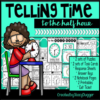 Telling Time to Half Past the Hour Task Cards