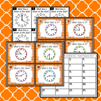 Telling Time to the Quarter, Half, and Whole Hour - Task Cards and More