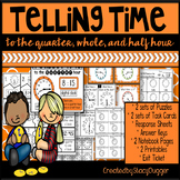 Telling Time to the Quarter Hour, Half Hour and Whole Hour Task Cards and More