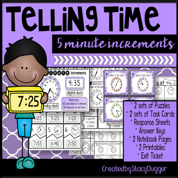 Telling Time in 5 Minute Intervals - Task Cards and More