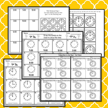Telling Time to the Hour - Task Cards and More