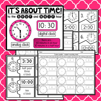Telling Time to the Hour and Half Hour - Task Cards and More