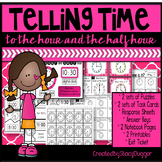 Telling Time to the Hour and Half Hour Task Cards and More