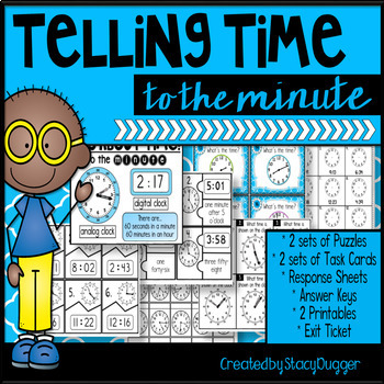 Telling Time to the Minute - Task Cards and More!