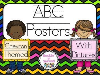Chevron Theme ABC Posters