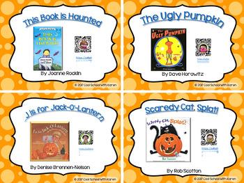 Halloween Book Treats ~ On-Screen Reader Menus & QR Code Task Cards
