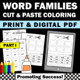 Word Families Worksheets, Part I, Word Family Cut and Paste & Coloring Pages