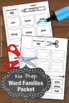 Word Families Worksheets, Part I Phonics Cut and Paste Activities Coloring Pages