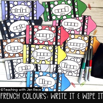Write It and Wipe It! French Colours (Reusable Literacy Center Activity)