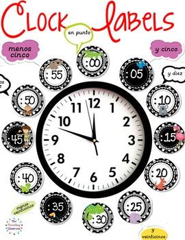 etiquetas De Reloj - Spanish Clock Labels for Telling Time