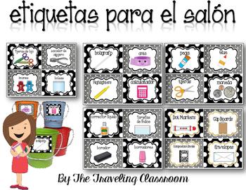 etiquetas para el salón  - Editable Spanish Classroom Supply Labels
