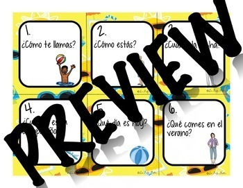 48 Spanish 1 Review Conversation Cards (Summer Edition) | Back to School