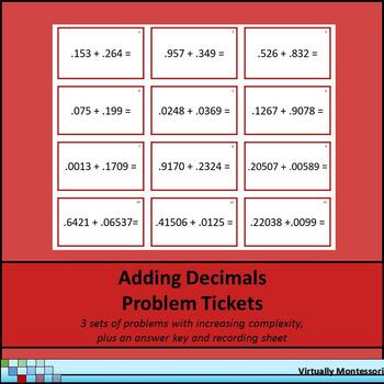 Adding Decimals Problem Tickets / Cards